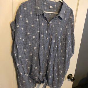 Cap Sleeve Palm Tree Shirt